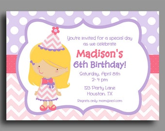 Girl Birthday Invitation Printable or Printed with FREE SHIPPING  - Pick Hair Color/Style and Skin Tone - Pink Chevron and Purple Polka Dot