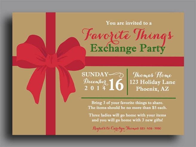 Christmas Favorite Things Invitation Printable Or Printed W