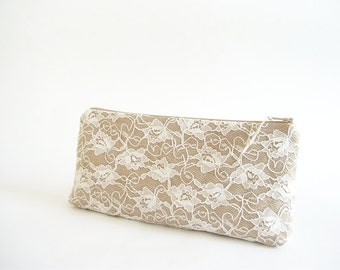 Set of 4 Clutches for Bridesmaids, Will You Be My Bridesmaid Gift Bags Sparkling Gold Organza with Lace
