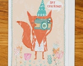 fox with camera birthday card, greetings card for any occasion, woodland party