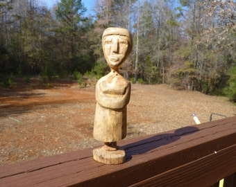 John Lynch, Wood Sculpture, Simple Primitive Folk Art Wood Carving ,Lady ,Rustic Log Cabin Look, Wormy Maple b1