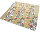 Vintage Wrapping Paper - Holly Accented Christmas Bells Gift Wrap - One Sheet Christmas Wrapping