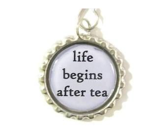 "Tea Infuser with handmade bottle cap charm - 2"" Mesh Tea Ball - life begins after tea"