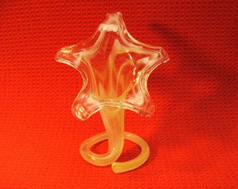 Blown Glass Yellow Twisted Flower Bud Vase Murano Style