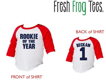 First Birthday Personalized Rookie of the Year baseball shirt for babies - pick your colors!