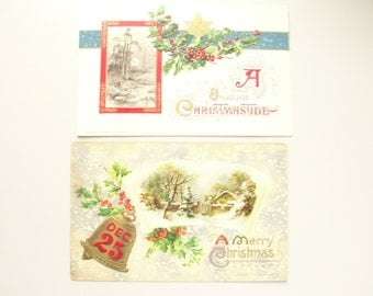 Antique 1912 Christmas Postcard Pair