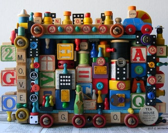 50% OFF - Recycled Art - MOVE - 3D Assemblage - Mixed Media - Found Object Art by Jen Hardwick