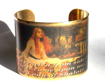 Lady of Shalott Cuff Bracelet --Waterhouse Painting and Tennyson Poem