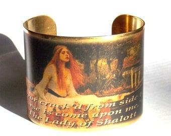 Lady of Shalott Cuff Bracelet --Waterhouse Painting and Tennyson Poem