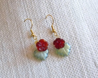 Flower Earrings --Red Flowers and Green Leaves