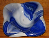 Vintage Cobalt Blue White Swirl Slag Glass Ashtray Bowl End of Day Imperial Glass Co.