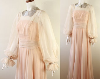 Vintage 60s 70s - Rose Taft - Silver Beaded Collar - Sheer - Puffy Sleeves - Ruffle Cuffs - Draped - Formal - Floor Length Gown
