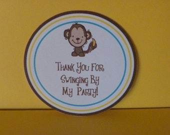 Monkey Small Round Favor Bag Tag