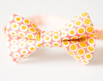 Little Boy Bowtie - Pink with Gold Dots - Boys Bow Tie