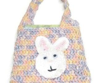 Easter bag crochet, Girl  Tote  Bunny, Lunch bag for girls On Sale