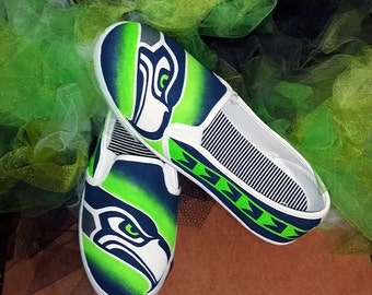 SEATTLE SEAHAWKS Shoes - Hand Painted - Women's
