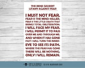 Litany Against Fear bene gesserit I must not fear sign geek gift