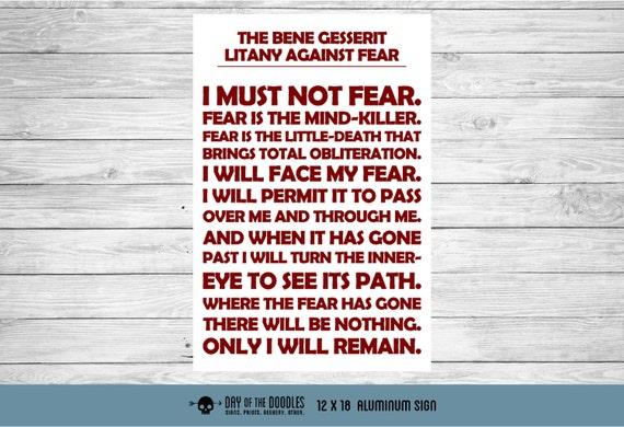 Litany Against Fear bene gesserit I must not fear sign geek gift