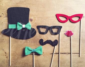 Set of 6 Tea Party Props | Top Hat Prop | Bow Tie Prop | Cat Eye Glasses Prop | Mustache Prop