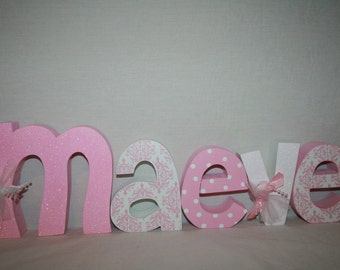 Wood letters, Wooden letters for nursery, 5 letter set, Pink nursery decor, Baby girl nursery, Nursery letters, Nursery wood letters