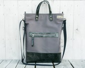 Unisex canvas leather TOTES tote bag Leather bag Foldover Crossbody GRAY GREY two tone bag