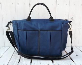 Unisex Canvas weekender bag, Zipper Messenger Cross Body, Overnight carrier, Boy Diaper bag,  Navy blue Function bag, handmade gift