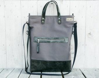 Unisex leather tote bag, Messenger Canvas Foldover Crossbody pack, unique gift, hand strap, adjustable strap, zipper pocket,