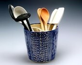 Large Handmade Royal Blue and White Ceramic Utensil Holder with Hand Carved Texture/Ceramics and Pottery