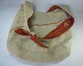 Women's Large Messenger Bag Natural Oatmeal Silk and Vintage Cotton Burnt Orange OOAK Gifts for Women