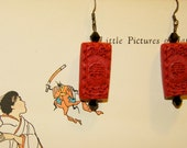 Carved Asian Cinnabar red and black swarovski earrings!