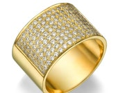 14K yellow gold 0.96ct Diamonds Semi-Eternity Band, Classic Estate 12.2mm  Flat Wedding Ring, Valentines Gift, Wide Band