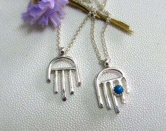 Hamsa  Amulets Charm Pendant -  Sterling Silver & Turquoise Good Luck Charm - Handmade Jewelry  - OOAK - Eco Friendly