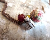 Cat lover, cat necklace - Charm necklace, yellow, red, white, copper, wine - Plaid, fiber bead, fabric bead - kitty cat, cat bead, white cat