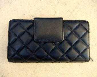 Vintage 80s Black 'Buxton' Quilted Leather Wallet