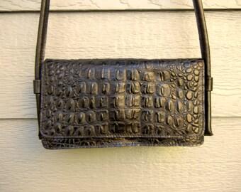 Vintage 60s Alligator Print Leather Shoulder Bag