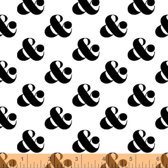 Windham fabrics ampersand set in white ampersand for Ampersand decoration etsy