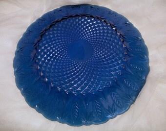 Vintage French cobalt blue pressed glass plate, cobalt blue glass plate, french pressed glass plate