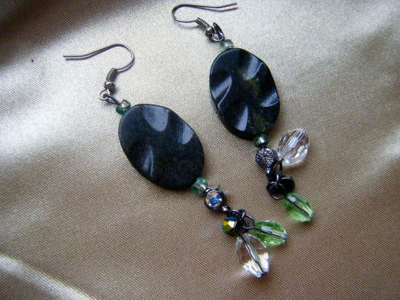 Stone and AB Charm Chandelier Earrings , One of a Kind Jewelry, Crystal Earrings ,
