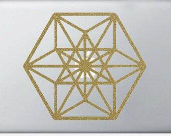 Cuboctahedron Laptop DECAL | Metatron macbook iPad computer- vinyl sticker - Sacred Geometry - Rainbow