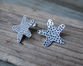 Handcrafted starfish earrings - hand sawn sterling silver starfish post earrings,hand fabricated,sea,ocean,surf,metalsmith artisan jewelry,