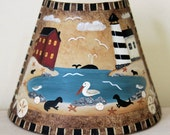 Beach Folk Art Night Light - Original Hand Painted  Beach Scene Starfish, Lighthouse, Pelican, Seals, Sea Lions,Nursery kids room nightlight