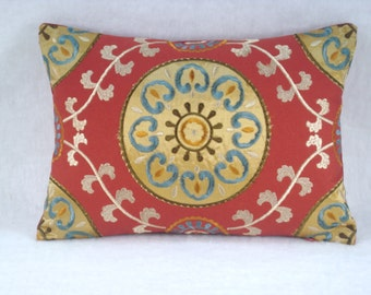 Decorative Accent Embroidered Red Medallion Lumbar Pillow 14x10 Pillow Cover