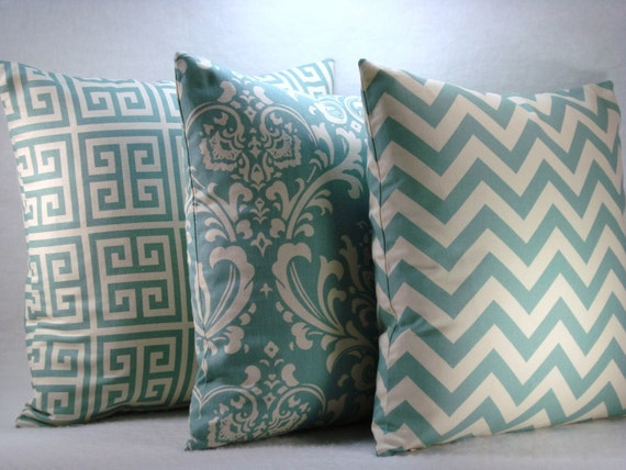 Village Blue Decorative Pillows Accent Pillows Greek Key