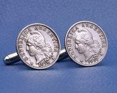 Argentina Liberty Coin Cufflinks - Vintage 5 Centavos