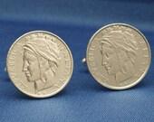 Republica Italiana Italy Vintage 1990s 100 Lira Coin - Cufflinks