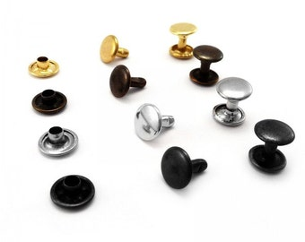 Double cap rivets 6 7 or 9  mm cap diameter Studs Leather craft rapid rivets