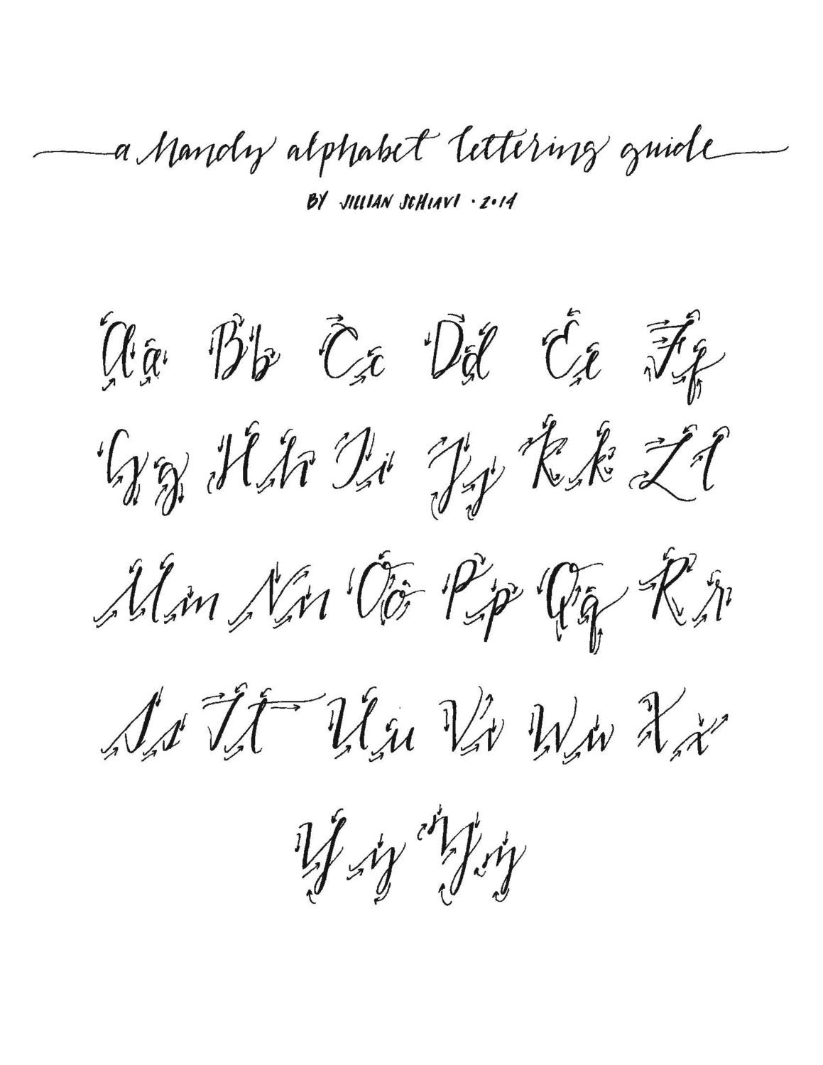 Hand lettering alphabet guide traceable download by jillyink Handwriting calligraphy