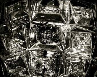 "Glass ""Black Ice"", Abstract Photography, Fine Art Print, Cubes, Monochrome Home Decor, Modern Wall Art, Black & White, Metallic Finish"