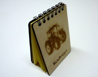Tractor engraved, Personalized Wood Notebook, Wooden Journal, Pattern,Journal Diary,For Gifts,Writers,Woodworking,Woodcraft,Wooden notebook