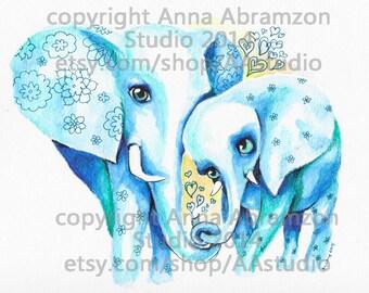 Mommy and Baby Elephant Nursery Art